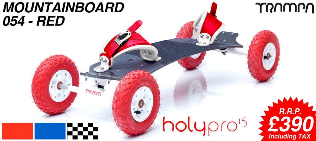 15º HOLYPRO TRAMPA deck on 10mm TITANIUM Trucks HYPA wheels & RATCHET Bindings - 054 RED  MOUNTAINBOARD