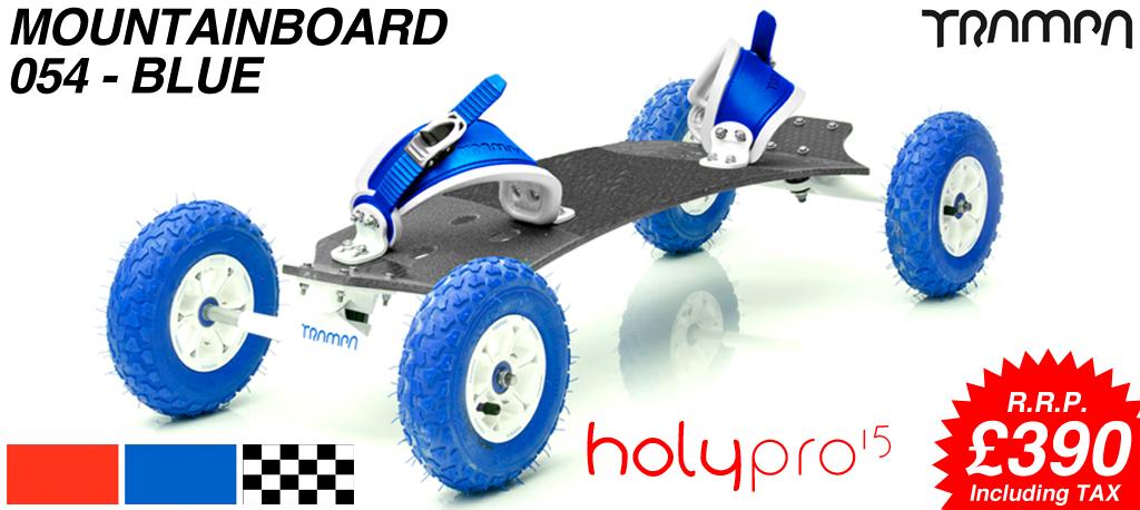 15º HOLYPRO TRAMPA deck on 10mm TITANIUM Trucks HYPA wheels & RATCHET Bindings - 054 BLUE MOUNTAINBOARD