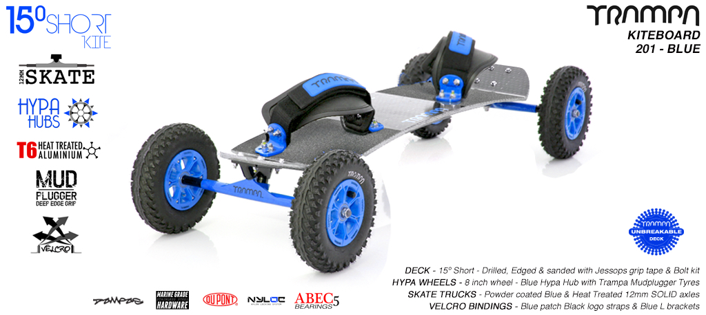 15° Short TRAMPA Deck on 12mm SOLID axle Skate Trucks with HYPA wheels & VELCRO Bindings - 201a BLUE KITEBOARD