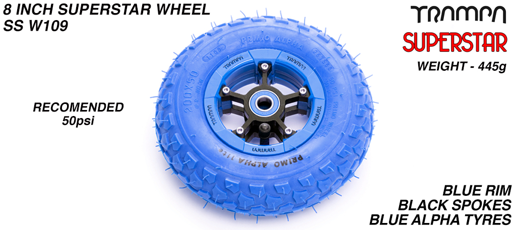 Superstar 8 inch wheels -  Blue & Black Logo Rim Black Anodised spokes & Blue Alpha 8 inch Tyre