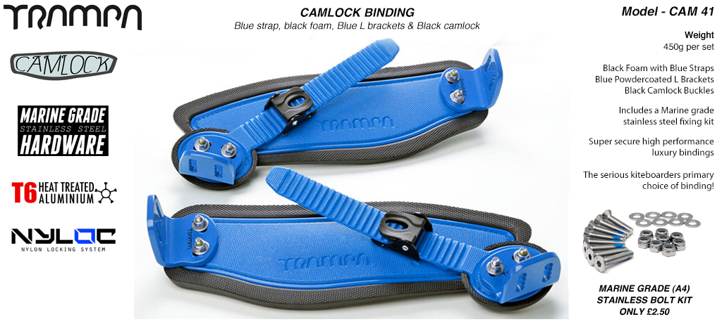 Camlock Bindings - Blue straps on Black Foam with Blue L Brackets & Black Camlocks