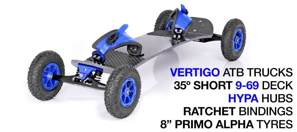 35º Short TRAMPA deck on VERTIGO Trucks with HYPA Wheels & RATCHET Bindings - 526 BLUE MOUNTAINBOARD