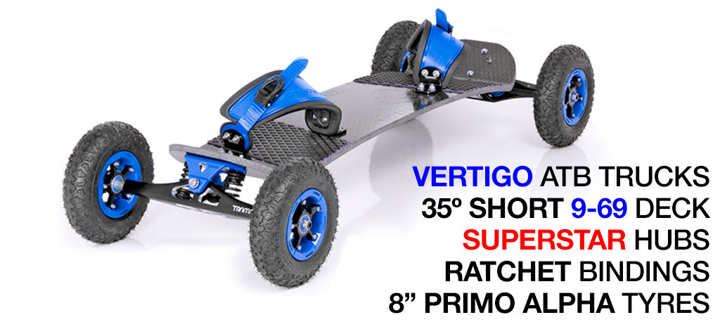 35º Short TRAMPA deck on VERTIGO Trucks SUPERSTAR Wheels & RATCHET Bindings - 527 BLUE MOUNTAINBOARD