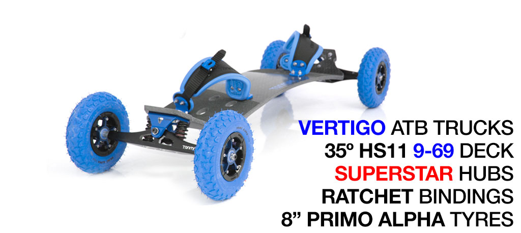 35º HOLYPRO TRAMPA deck on VERTIGO Trucks SUPERSTAR Wheels & RATCHET Bindings - 714 BLUE MOUNTAINBOARD