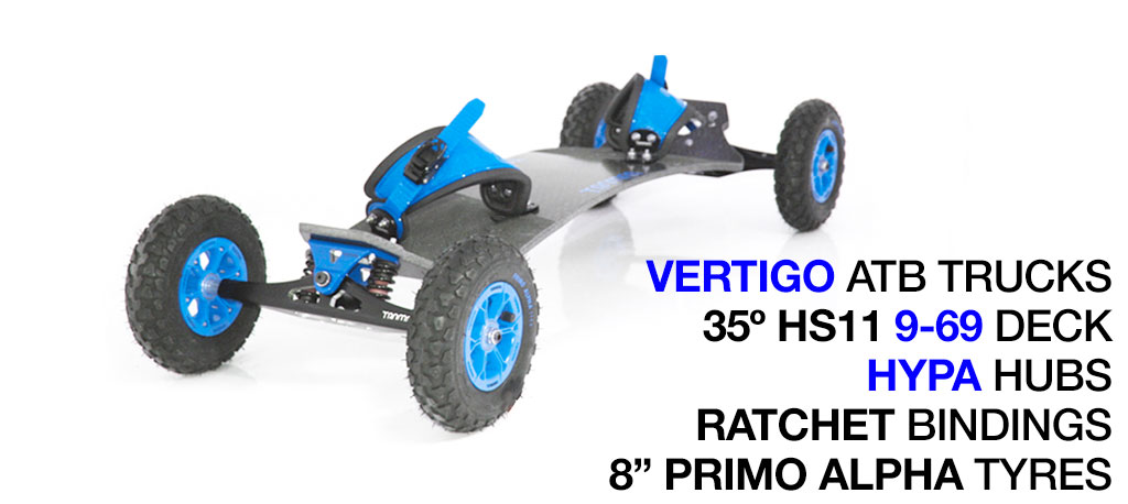 35º HOLYPRO TRAMPA deck on VERTIGO Trucks with HYPA Wheels & RATCHET Bindings - 676 BLUE MOUNTAINBOARD