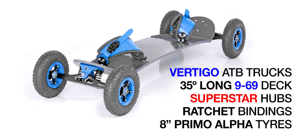 35º Long TRAMPA deck on VERTIGO Trucks SUPERSTAR Wheels & RATCHET Bindings - 528 BLUE MOUNTAINBOARD