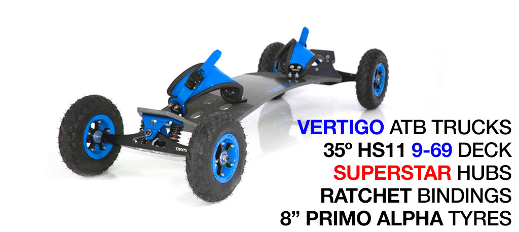 35º HOLYPRO TRAMPA deck on VERTIGO Trucks SUPERSTAR Wheels & RATCHET Bindings - 529 BLUE MOUNTAINBOARD