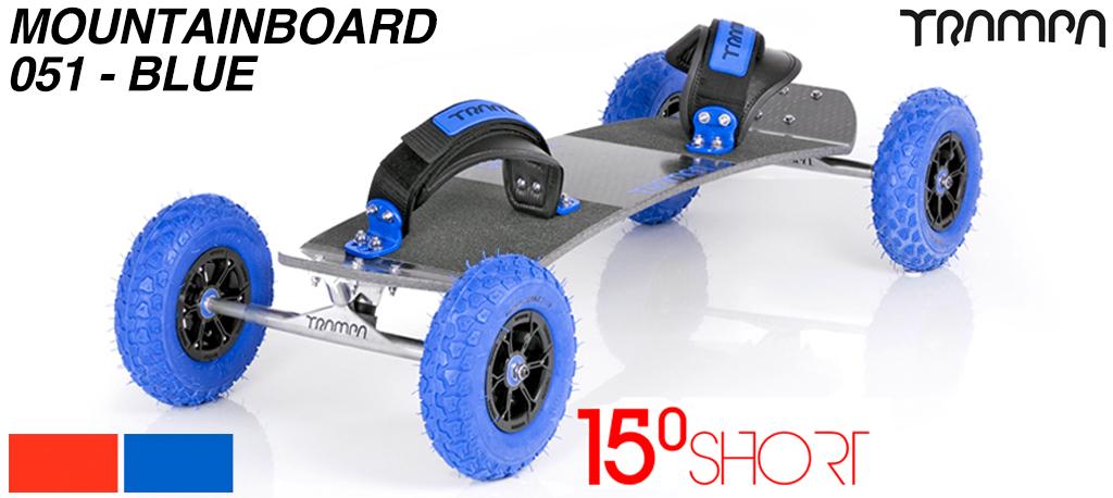 15º Short TRAMPA Deck on HOLLOW axle Skate Trucks HYPA wheels & VELCRO Bindings - 051 BLUE MOUNTAINBOARD