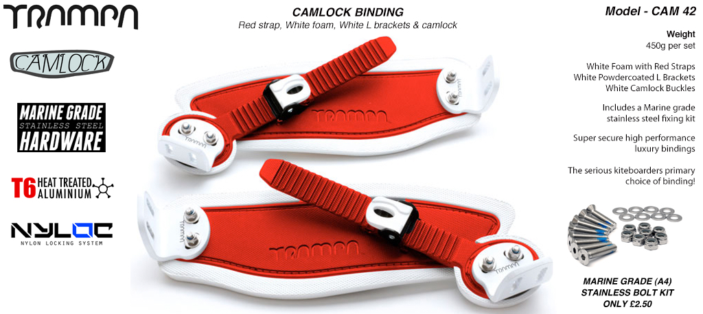 Camlock Bindings - Red straps on White Foam with White L Brackets & White Camlocks