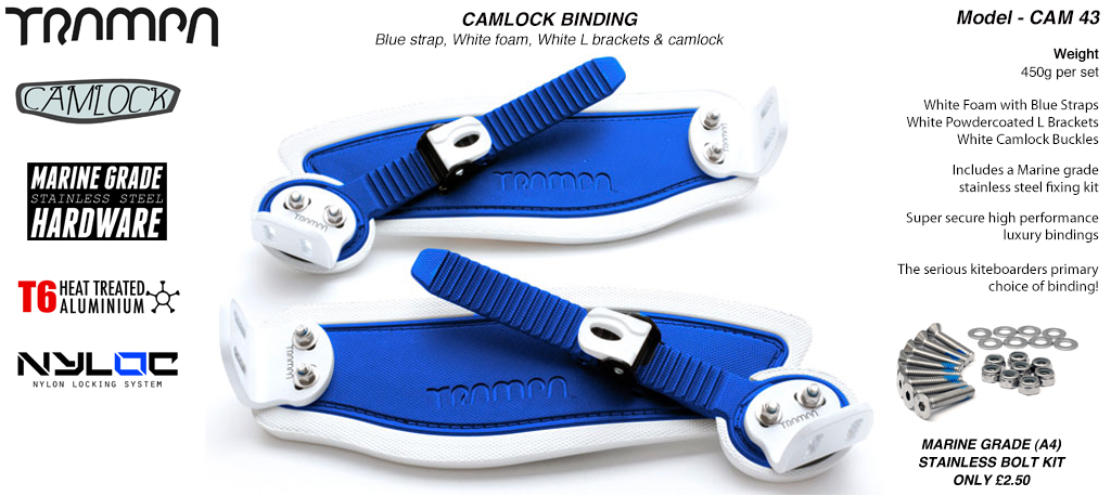 Camlock Bindings - Blue straps on White Foam with White L Brackets & White Camlocks