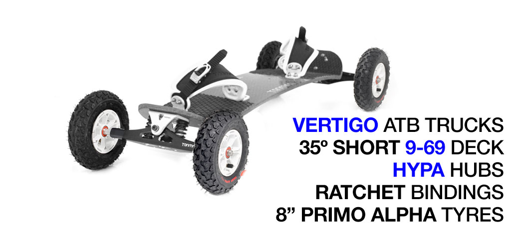 35º Short Deck TRAMPA deck on VERTIGO Trucks with HYPA Wheels & RATCHET Bindings - 718 WHITE MOUNTAINBOARD