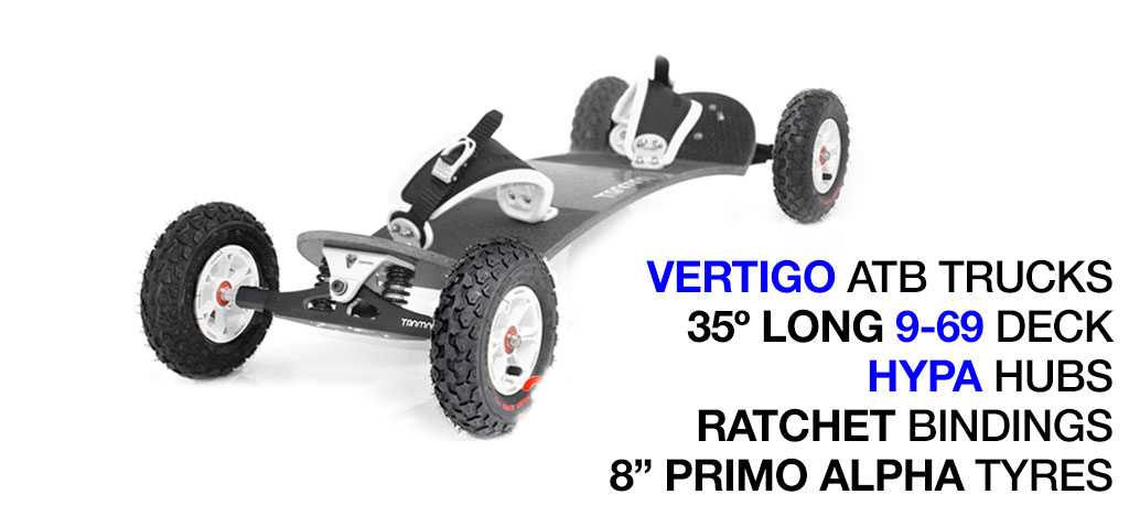 35º Long Deck TRAMPA deck on VERTIGO Trucks with HYPA Wheels & RATCHET Bindings - 719 WHITE MOUNTAINBOARD