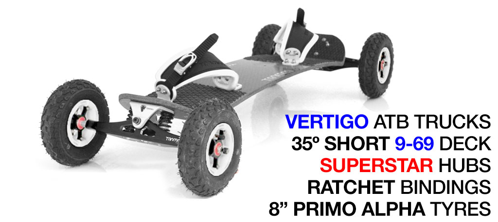 35º Short TRAMPA deck on VERTIGO Trucks with SUPERSTAR Wheels & RATCHET Bindings - 712 WHITE MOUNTAINBOARD