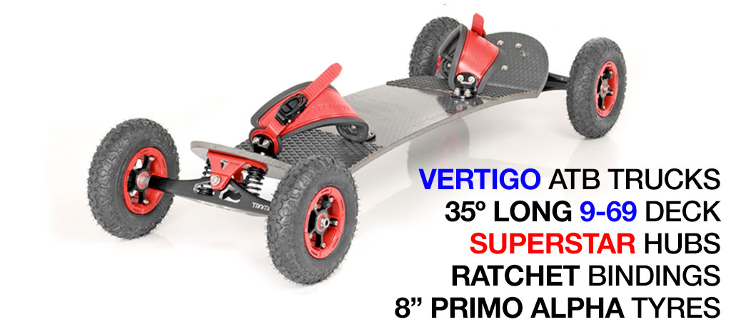 35º Long TRAMPA deck on VERTIGO Trucks with SUPERSTAR Wheels & RATCHET Bindings - 713 RED MOUNTAINBOARD