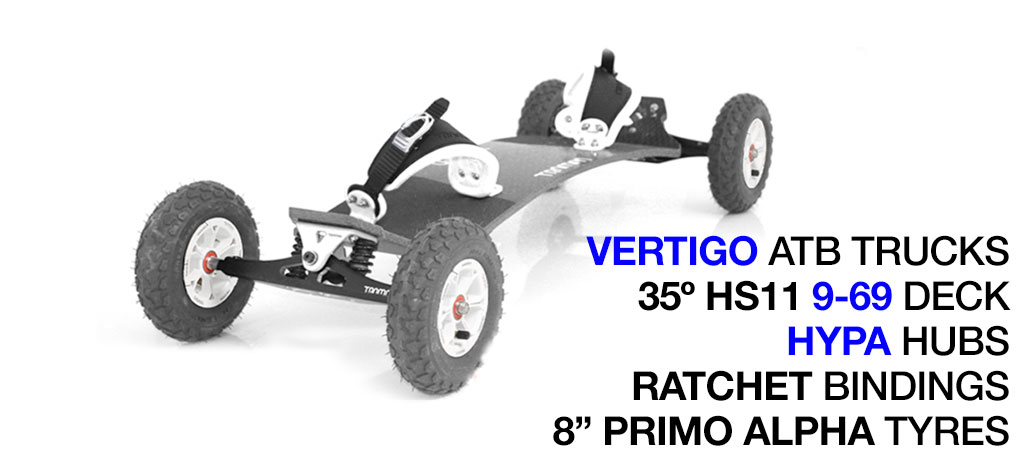 35º HOLYPRO TRAMPA deck on VERTIGO Trucks with HYPA Wheels & RATCHET Bindings - 720 WHITE MOUNTAINBOARD