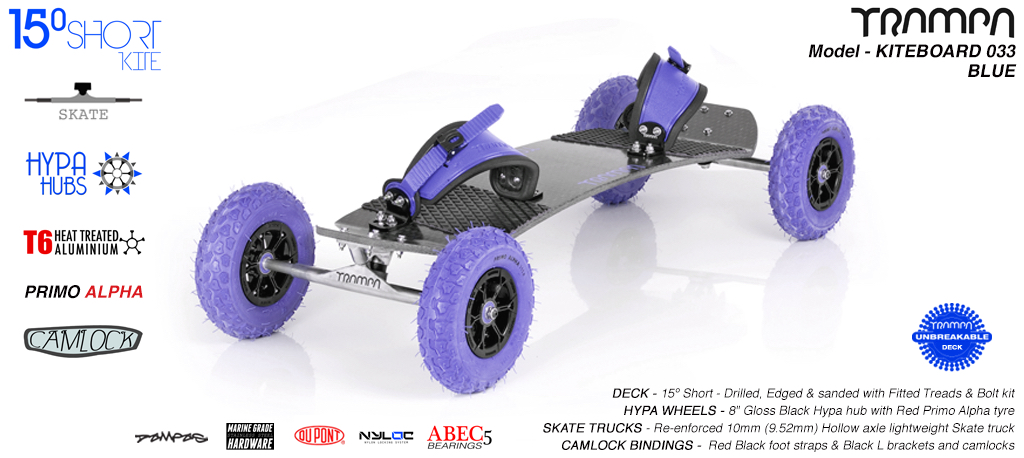 15° Short TRAMPA Deck on 10mm Hollow axle Skate trucks HYPA wheels & CAMLOCK Bindings - 033 BLUE KITEBOARD