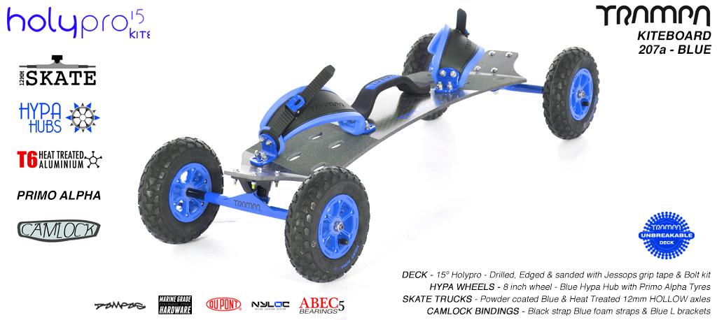 15° HOLYPRO TRAMPA Deck on 12mm HOLLOW axle Skate Trucks with HYPA wheels & CAMLOCK Bindings - 207a BLUE KITEBOARD