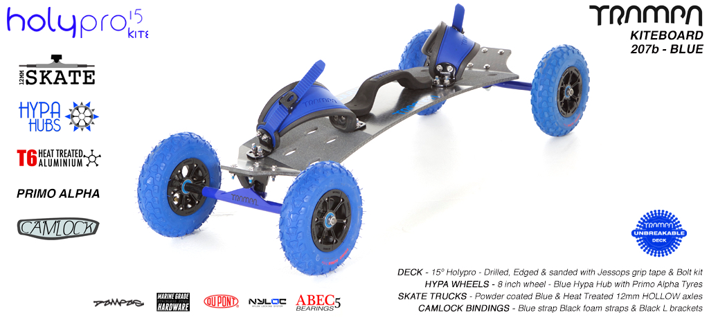 15° HOLYPRO TRAMPA Deck on 12mm HOLLOW axle Skate Trucks with HYPA wheels & CAMLOCK Bindings - 207b BLUE KITEBOARD
