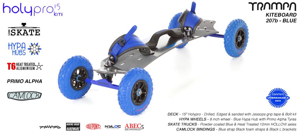 15° HOLYPRO TRAMPA Deck on 12mm HOLLOW axle Skate Trucks with HYPA wheels & CAMLOCK Bindings - 207b BLUE KITEBOARD