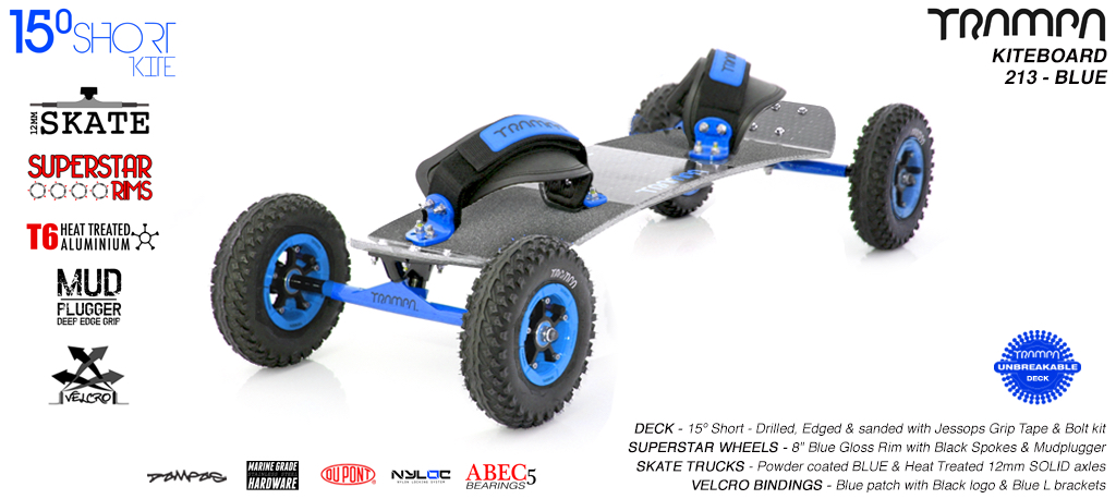 15° Short TRAMPA Deck on 12mm SOLID axle Skate Trucks with SUPERSTAR wheels & VELCRO Bindings - 213a BLUE KITEBOARD