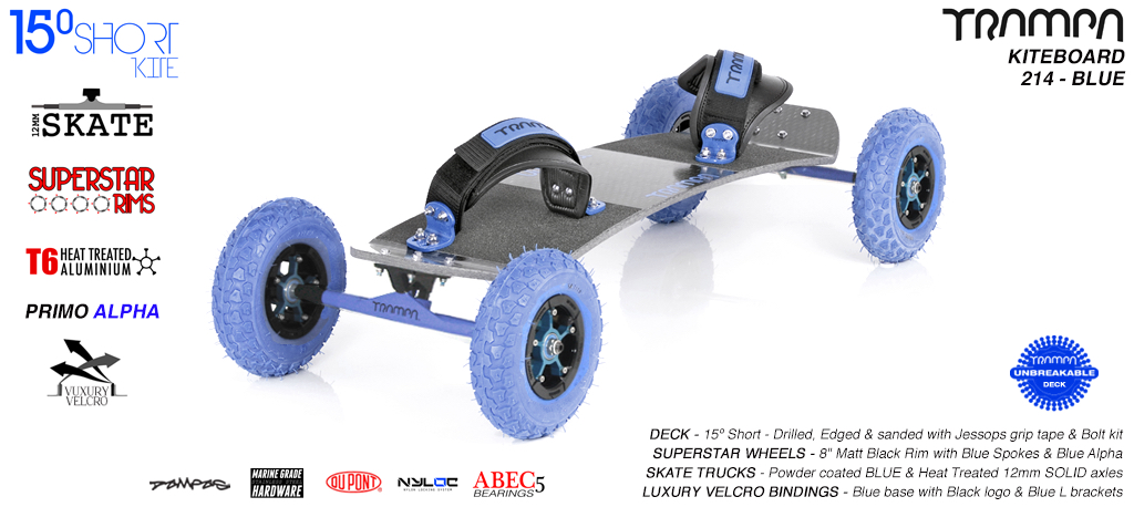 15° Short TRAMPA Deck on 12mm SOLID axle Skate Trucks with SUPERSTAR wheels & VELCRO Bindings - 213b BLUE KITEBOARD