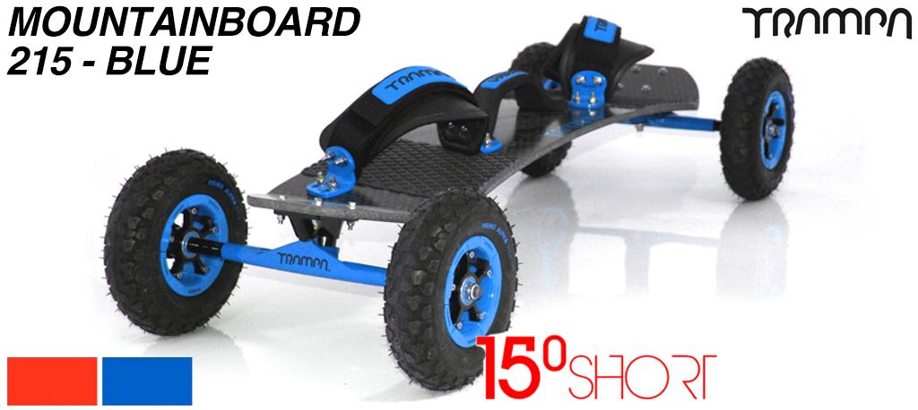 15º ShortTRAMPA deck  on 12mm SOLID axle Skate Trucks with SUPERSTAR wheels & VELCRO Bindings - 215a BLUE MOUNTAINBOARD