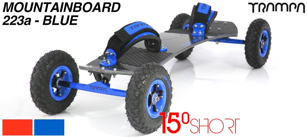 15º HOLYPRO TRAMPA deck on 12mm HOLLOW axle Skate Trucks with SUPERSTAR wheels & LUXURY velcro Bindings - 223a BLUE MOUNTAINBOARD