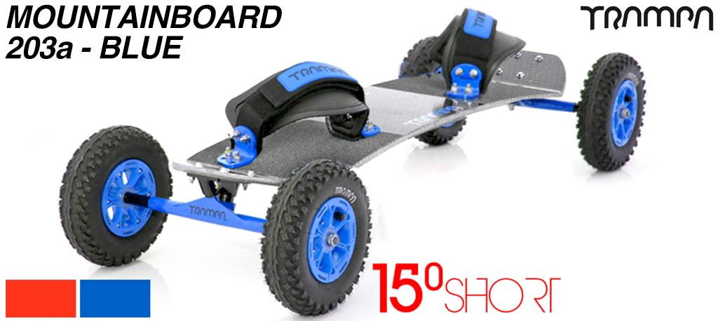 15º Short TRAMPA deck on 12mm SOLID axle Skate Trucks with HYPA wheels & VELCRO Bindings - 203a BLUE MOUNTAINBOARD
