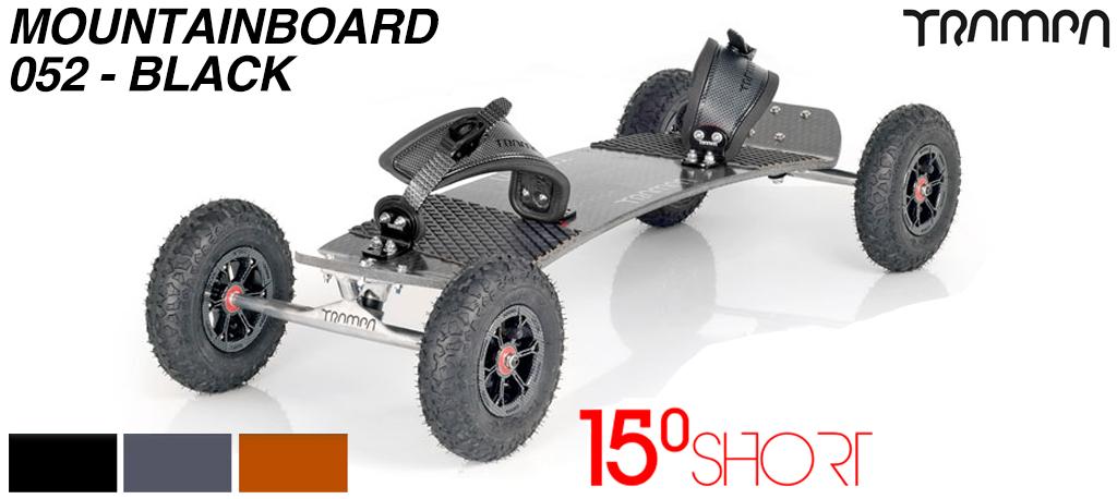 15º Short TRAMPA Deck on 10mm HOLLOW axle Trucks HYPA wheels & Ratchet Bindings - 052 BLACK MOUNTAINBOARD