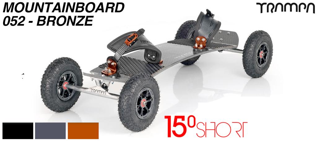 15º Short TRAMPA Deck on 10mm HOLLOW axle Trucks HYPA wheels & Ratchet Bindings - 052 BRONZE MOUNTAINBOARD