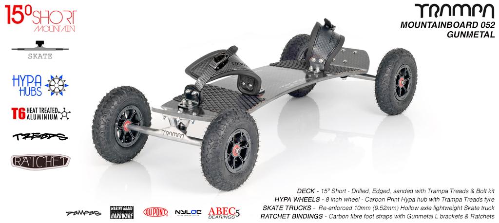15º Short TRAMPA Deck on 10mm HOLLOW axle Trucks HYPA wheels & Ratchet Bindings - 052 GUNMETAL MOUNTAINBOARD