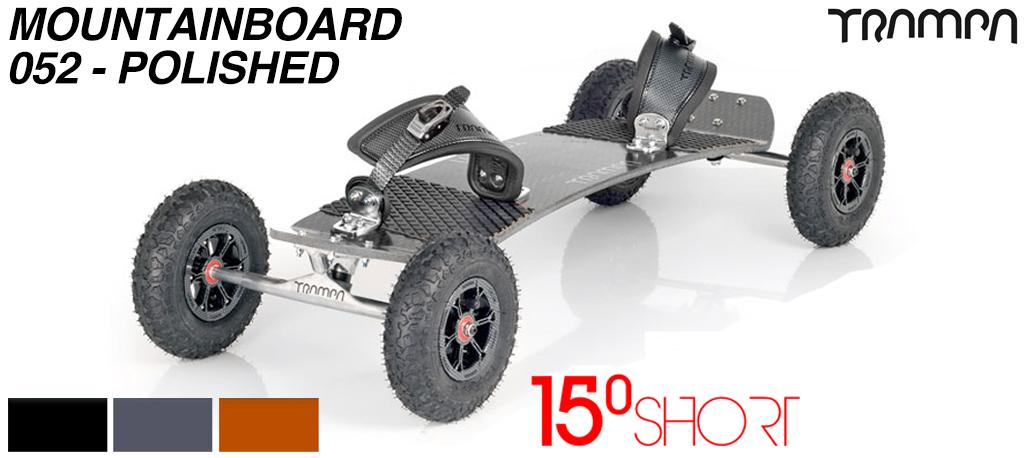 15º Short TRAMPA Deck on 10mm HOLLOW axle Trucks HYPA wheels & Ratchet Bindings - 052 POLISHED MOUNTAINBOARD