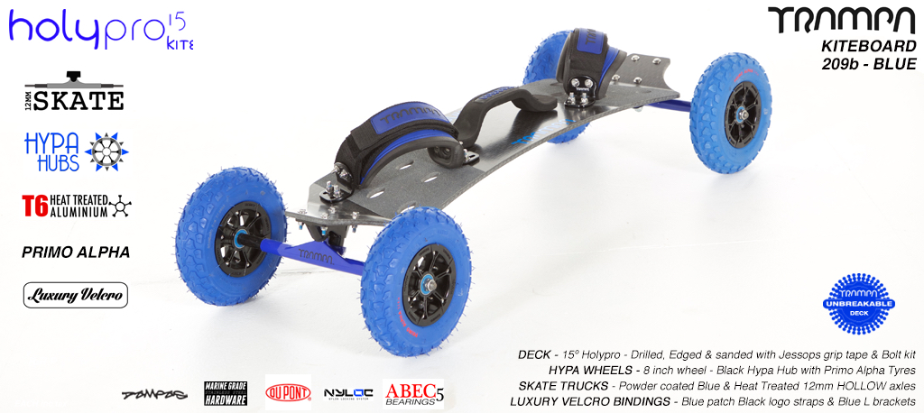 15° HOLYPRO TRAMPA Deck on 12mm HOLLOW axle Skate Trucks with HYPA Wheels & LUXURY velcro BINDINGS - 209b BLUE KITEBOARD