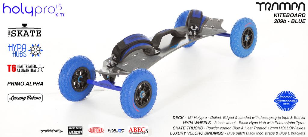 15° HOLYPRO TRAMPA Deck on 12mm HOLLOW axle Skate Trucks with HYPA Wheels & LUXURY velcro BINDINGS - 209b BLUE KITEBOARD