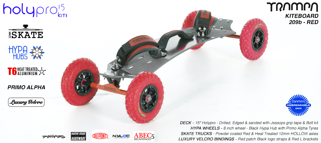 15° HOLYPRO TRAMPA Deck on 12mm HOLLOW axle Skate Trucks with HYPA Wheels & LUXURY velcro BINDINGS - 209b RED KITEBOARD