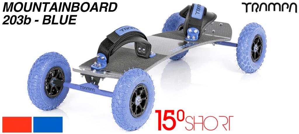 15º Short TRAMPA deck on 12mm SOLID axle Skate Trucks with HYPA wheels & VELCRO Bindings - 203b BLUE MOUNTAINBOARD