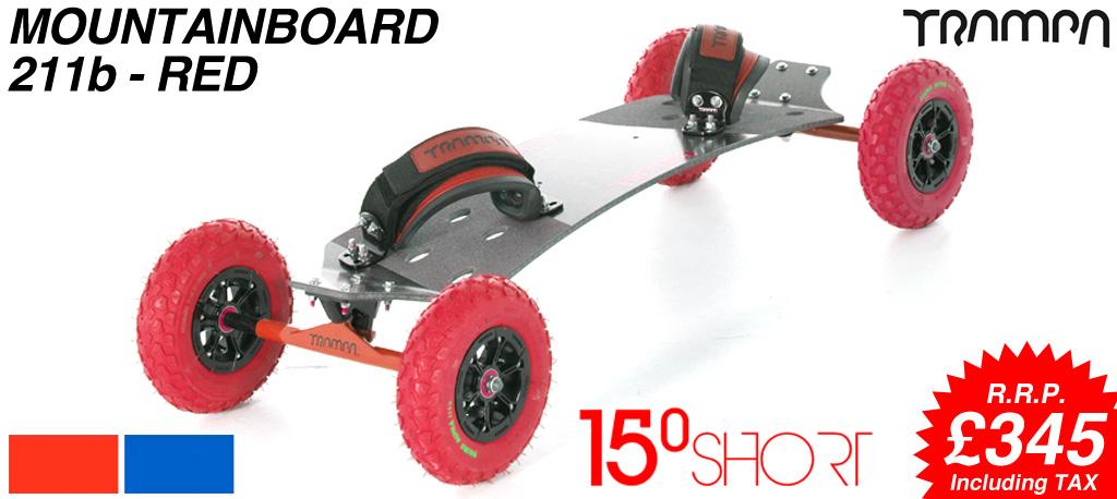 15º HOLYPRO TRAMPA deck on 12mm HOLLOW axle Skate Trucks with HYPA wheels & LUXURY velcro Bindings - 211b RED MOUNTAINBOARD
