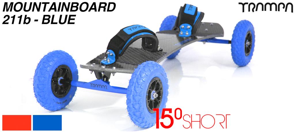 15º Short TRAMPA deck on 12mm SOLID axle Skate Trucks with SUPERSTAR wheels & VELCRO Bindings - 215b BLUE MOUNTAINBOARD