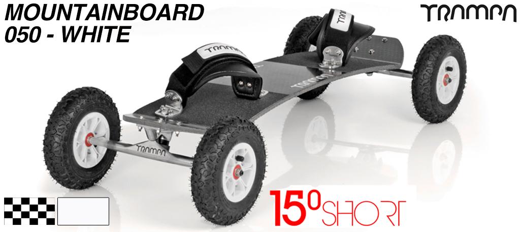 15º Short TRAMPA Deck on 10mm Hollow axle Skate Trucks HYPA wheels & VELCRO Bindings - 050 WHITE MOUNTAINBOARD