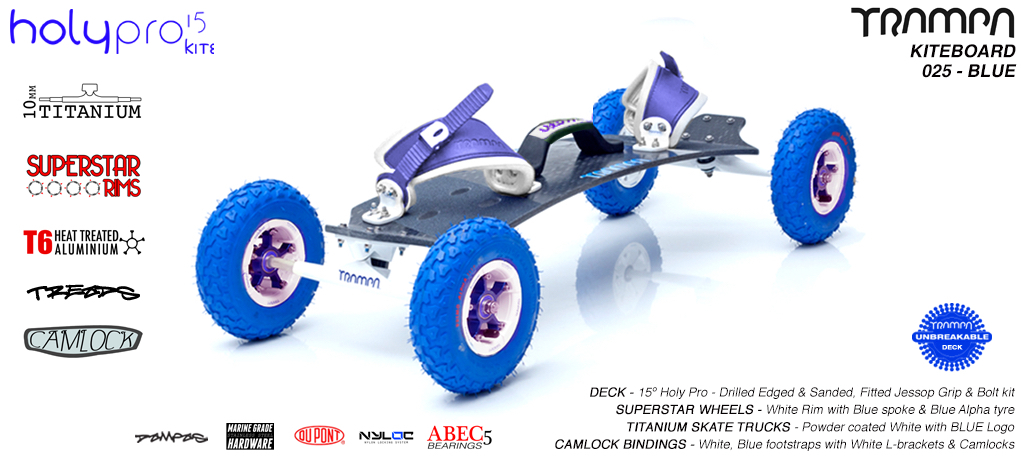 15° HOLYPRO TRAMPA Deck on 9.525mm TITAINIUM Axel Skate Trucks SUPERSTAR Wheels & CAMLOCK Bindings - 025 BLUE KITEBOARD