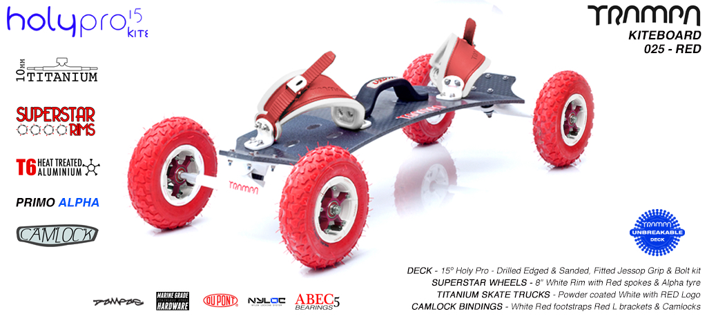 15° HOLYPRO TRAMPA Deck on 10mm TITAINIUM Axel Skate Trucks SUPERSTAR Wheels & CAMLOCK Bindings - 025 RED KITEBOARD
