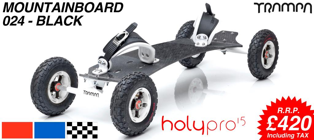 15º HOLYPRO TRAMPA deck on 10mm TITANIUM Trucks HYPA wheels & RATCHET Bindings - 024 BLACK MOUNTAINBOARD