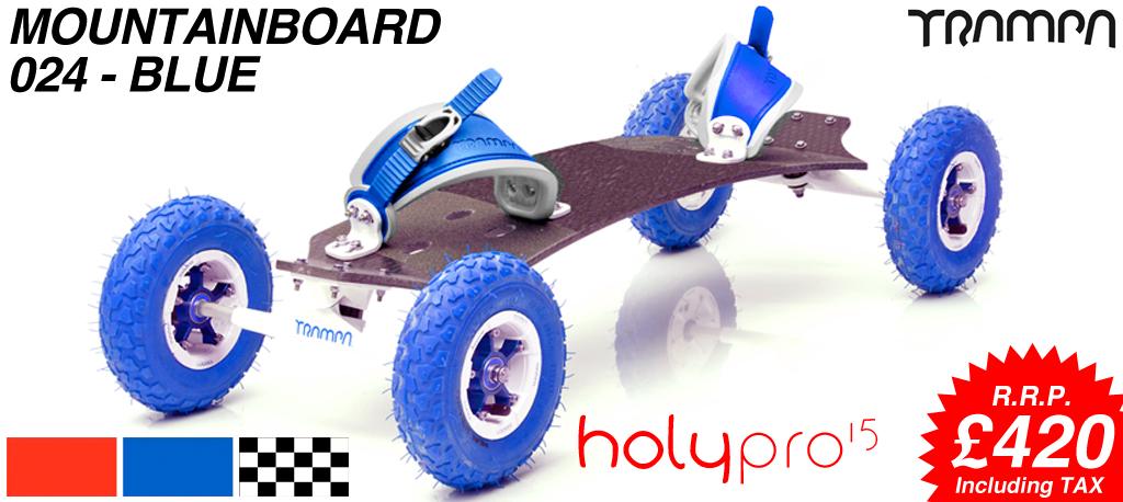 15º HOLYPRO TRAMPA deck on 10mm TITANIUM Trucks HYPA wheels & RATCHET Bindings - 024 BLUE MOUNTAINBOARD