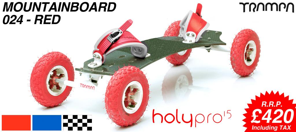 15º HOLYPRO TRAMPA deck on 10mm TITANIUM Trucks HYPA wheels & RATCHET Bindings - 024 RED MOUNTAINBOARD