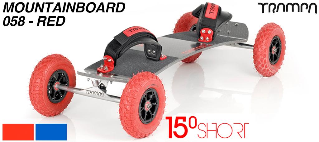 15º Short TRAMPA Deck on 10mm HOLLOW axle Skate Trucks HYPA wheels & VELCRO Bindings - 058 RED MOUNTAINBOARD