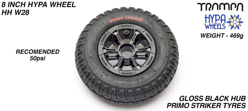 8 Inch Wheel - Black Gloss Hypa Hub with Black Striker 8 Inch Tyre
