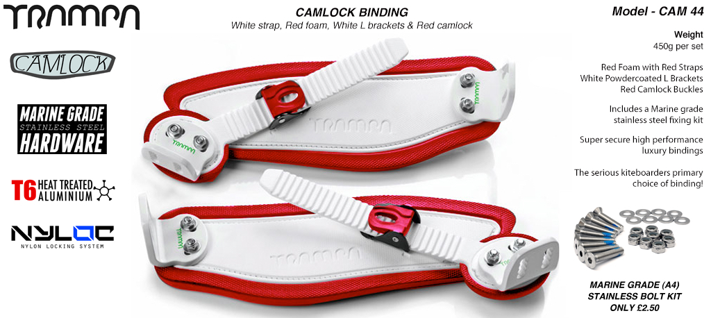 Camlock Bindings - White straps on Red Foam, White L Brackets & White Camlocks
