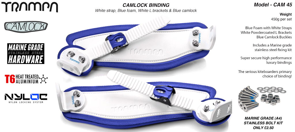 Camlock Bindings - White straps on Blue Foam with White L Brackets & White Camlocks