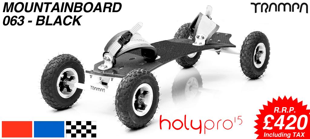15º HOLYPRO TRAMPA deck on 10mm TITANIUM Trucks SUPERSTAR wheels & RATCHET Bindings - 063 BLACK  MOUNTAINBOARD