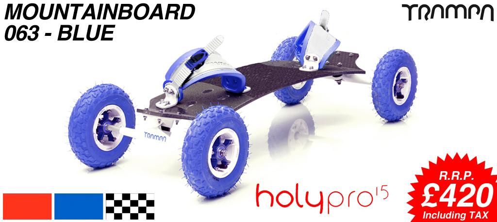15º HOLYPRO TRAMPA deck on 10mm TITANIUM Trucks SUPERSTAR wheels & RATCHET Bindings - 063 BLUE  MOUNTAINBOARD